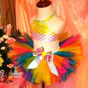Rainbow mermaid birthdaytutu set 12 18 month 2t